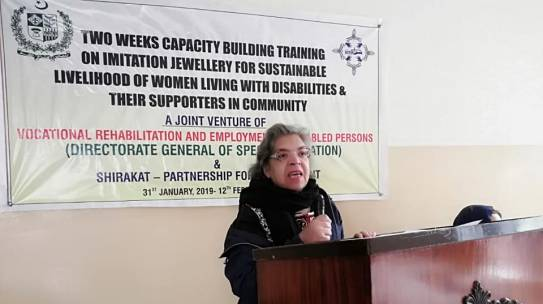 "Shirakat organized two weeks training on ""Imitation jewelry making for women living with disability and their supporters in community"""