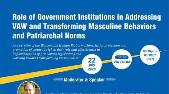 Role of Government Institutions in addressing VAW and Transforming Masculine Behaviors and Patriarchal Norm